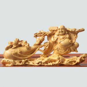 Tượng Phật Di Lặc kéo bao tiền bằng gỗ
