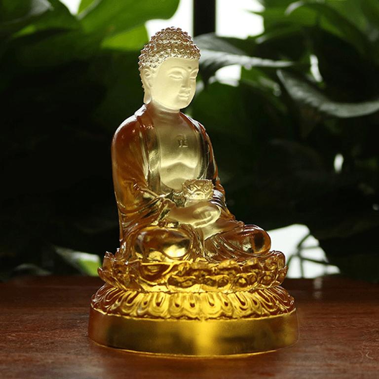 Tượng Phật A Di Đà để xe ô tô bằng lưu ly cao cấp