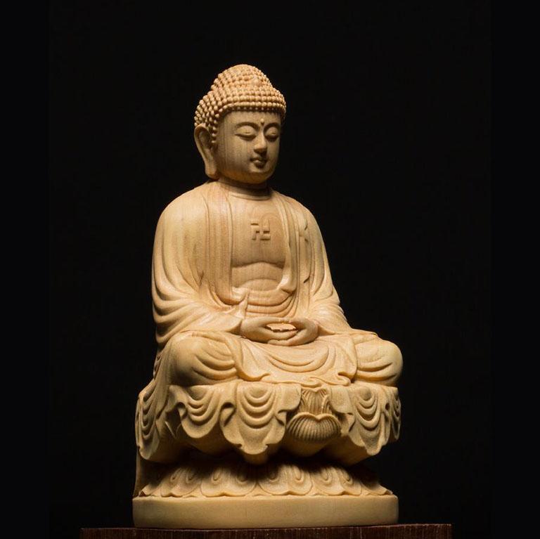 Tượng Phật A Di Đà để xe ô tô bằng gỗ Hoàng Dương