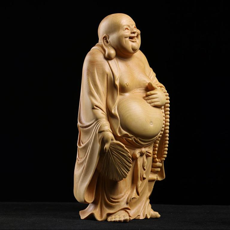 Tượng Phật Di Lặc để xe ô tô cực chất bằng gỗ Hoàng Dương