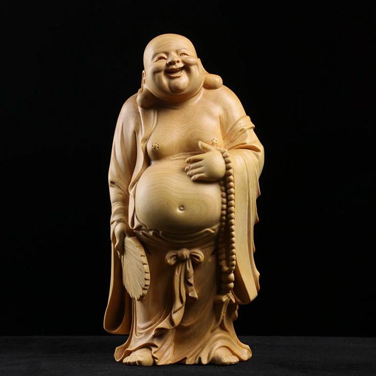 Tượng Phật Di Lặc Đứng để xe ô tô bằng gỗ Hoàng dương tại tp hồ chí minh