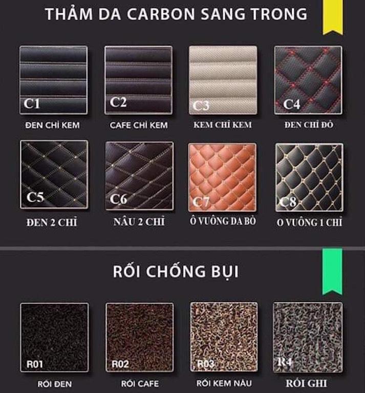 Bảng mẫu thảm lót sàn xe ô tô tại Phong Thuỷ An KhangBảng mẫu thảm lót sàn xe ô tô tại Phong Thuỷ An Khang