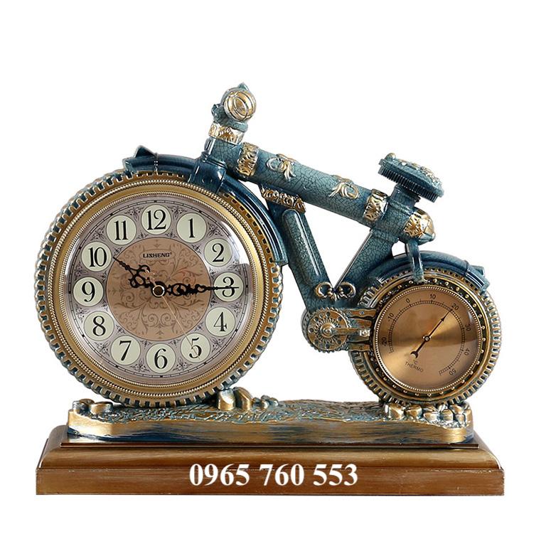 Đồng hồ xe đạp để bàn màu xanh