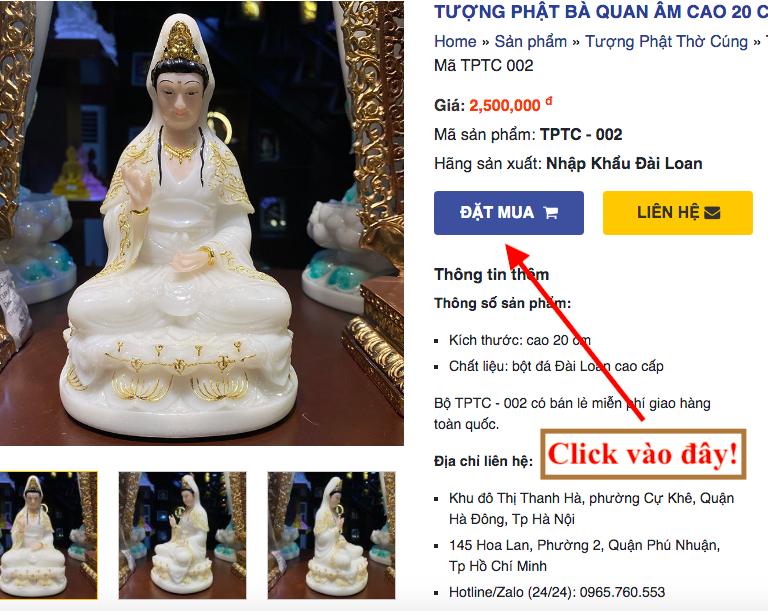 Đặt mua tượng Phật trực tuyến trên website: phongthuyankhang.com