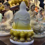mặt sau Tượng Phật Bà Quan Âm Màu Vàng, cao 30 cm