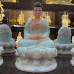 Tượng Phật A Di Đà trong bộ Tây Phương Tam Thánh xanh ngọc