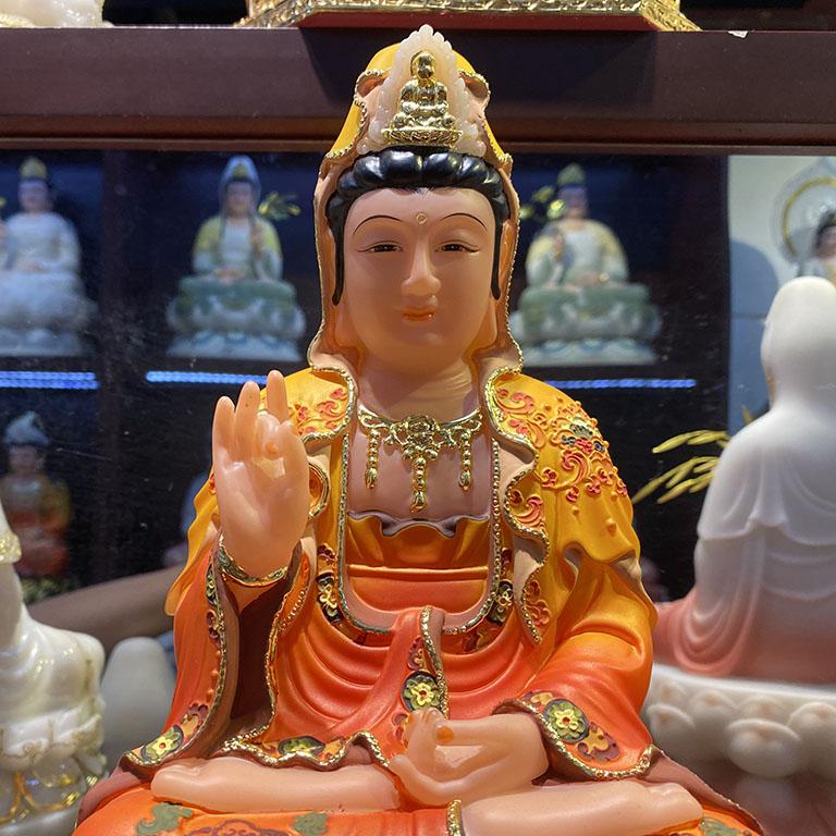 Tượng Phật Bà Quan Âm cao 30cm được vẽ sơn tay