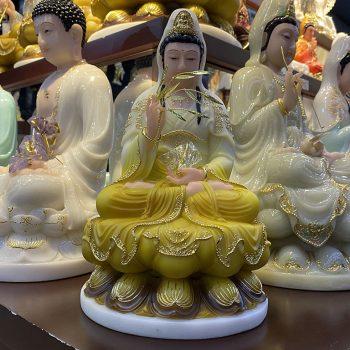 Tượng Phật Bà Quan Âm Màu Vàng nhập khẩu đài loan