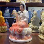 Tượng Quan Âm thờ cúng tại nhà màu hồng cao 30