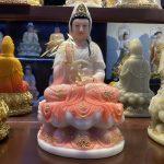 Tượng Phật Quan Âm Bồ tát màu hồng, cao 30 cm - mã TPTC 005