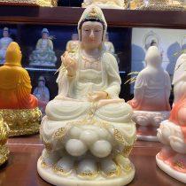 Tượng Phật Bà Quan Âm bằng đá Ngọc, cao 30 cm - mã TPTC 007