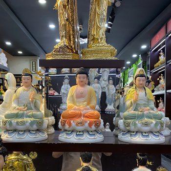 Bộ tượng Tây Phương Tam Thánh bằng bột đá cao 30 cm nhập khẩu Đài Loan