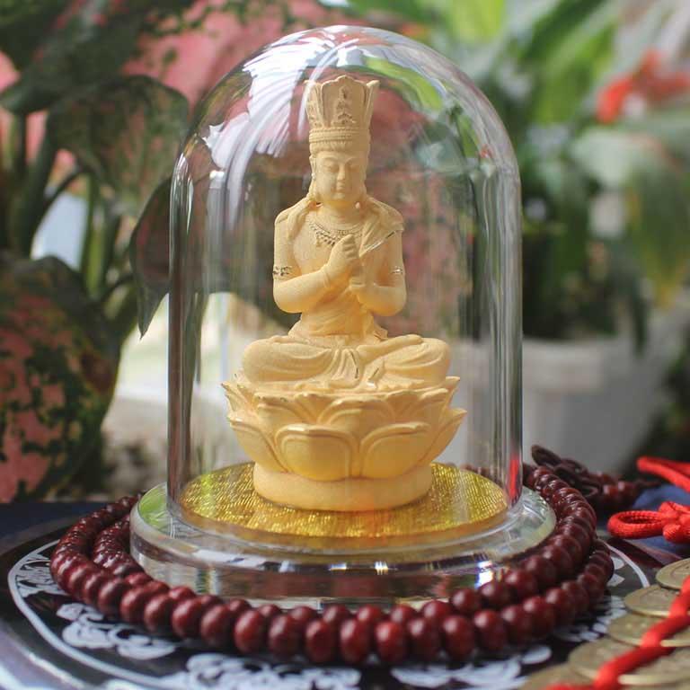 Tượng Phật để xe hơi bằng kim sa đẹp và cao cấp