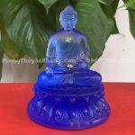 Tượng Phật A Di Đà màu xanh biển bằng lưu ly cao cấp