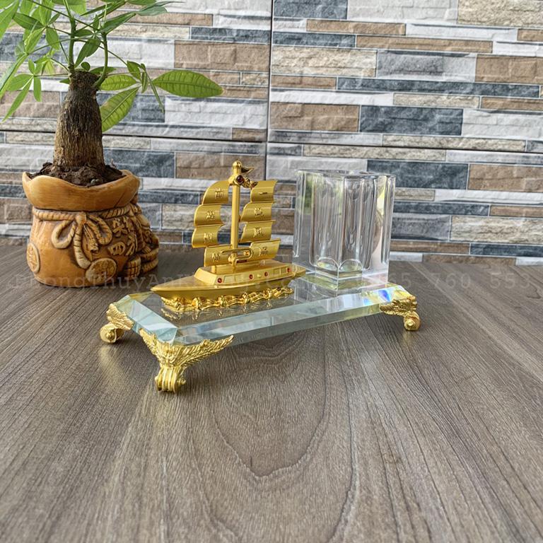 Hộp bút thuyền buồm mạ vàng cao cấp