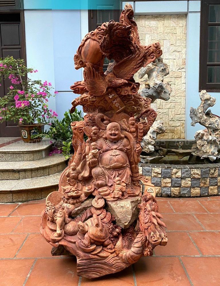 Phật Di Lặc tứ linh hội tụ bằng gỗ hương việt
