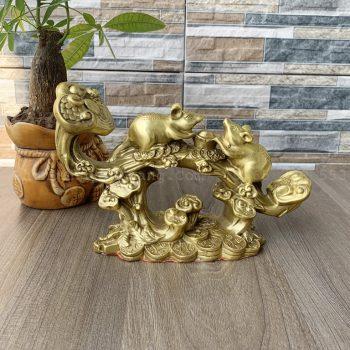 Tượng chuột vàng như ý để bàn làm việc