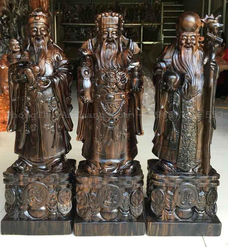 Bộ tượng tam đa phúc lộc thọ bằng gỗ mun