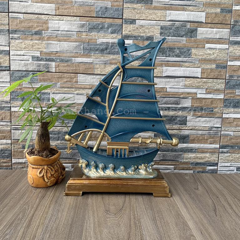 Mặt sau đồng hồ mô hình thuyền buồm màu xanh