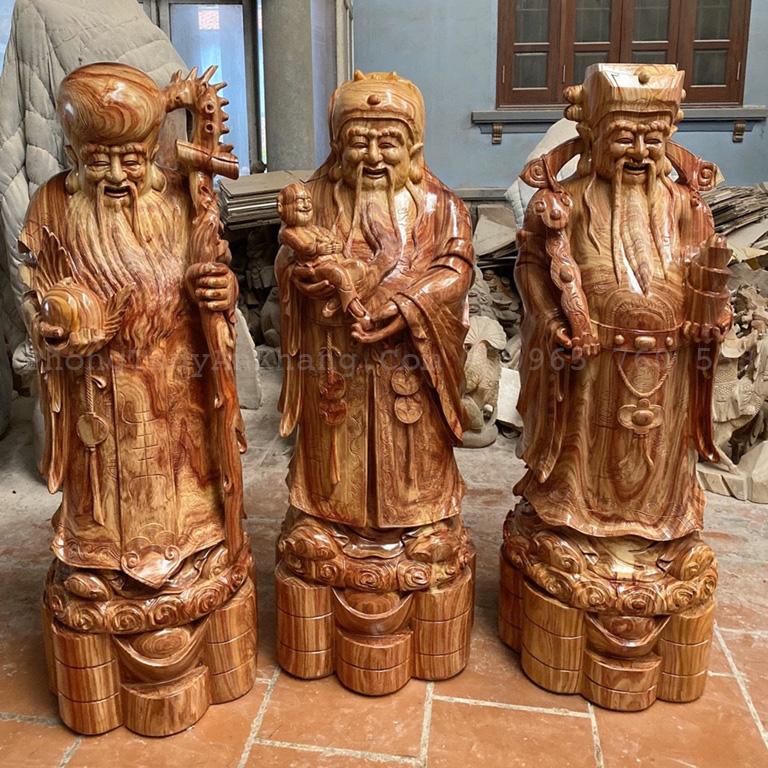 Tượng tam đa phúc lộc thọ bằng gỗ để phòng khách