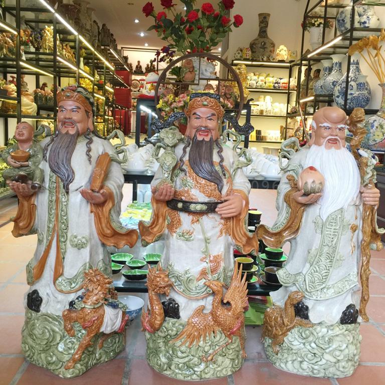 tượng tam đa (phúc lộc thọ) bằng gốm sứ bát tràng