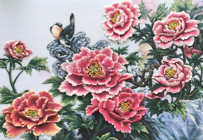 Tranh đá quý hoa mẫu đơn treo phòng khách