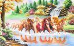 Tranh đá quý mã đáo thành công ngựa vượt đồng cỏ