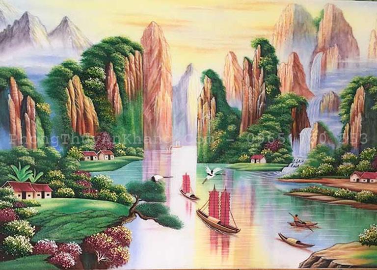 Tranh đá quý thuận buồm xuôi gió sơn thuỷ