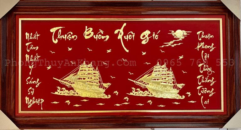 Tranh thuận buồm xuôi gió dát vàng 24k tặng đối tác
