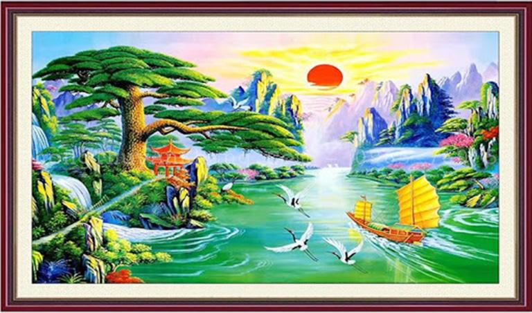 Tranh thuận buồm xuôi gió khảm đá tự nhiên