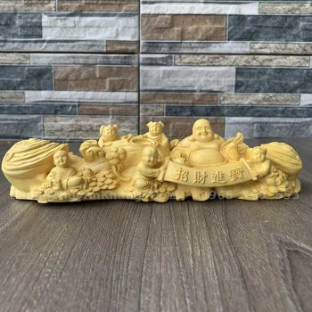 Tượng Phật Di Lặc gỗ hoàng dương để xe ô tô và bàn làm việc