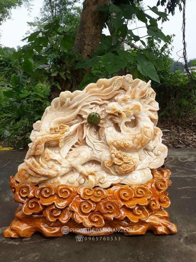 Tượng Long Phượng phu thê bằng đá Canxit