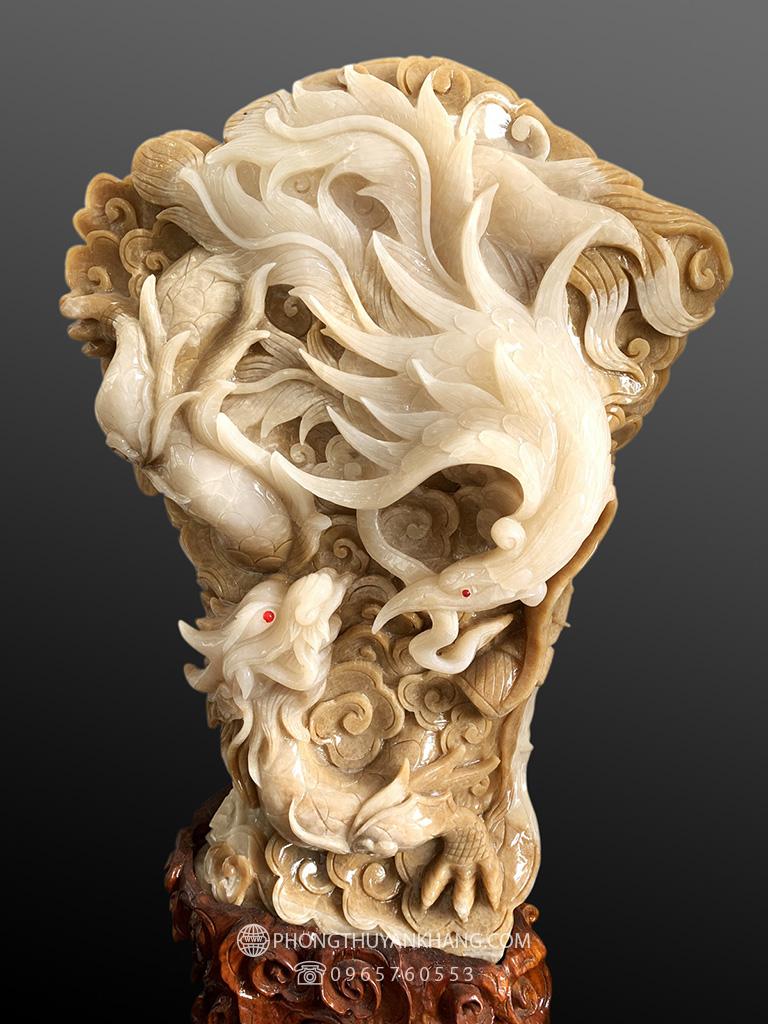 Tượng Long Phượng sum vầy đá canxit cẩm thạch