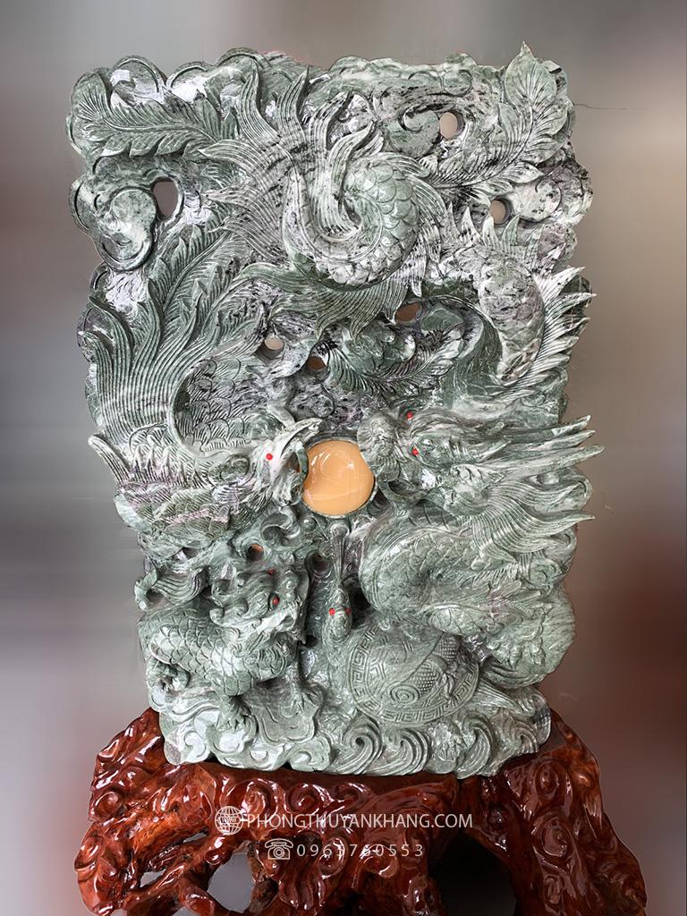 Tượng Long Phượng sum vầy bằng đá Trắng Xanh Suối Giàng