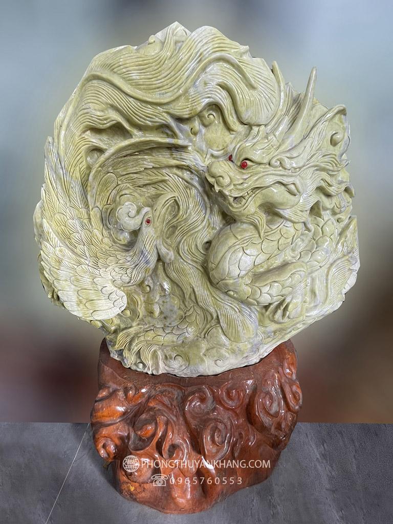 Tượng Rồng Phượng sum vầy bằng đá Serpentine Văn Chấn