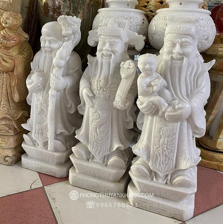 Tượng Tam Đa Phúc Lộc Thọ bằng đá Caxin trắng tự nhiên