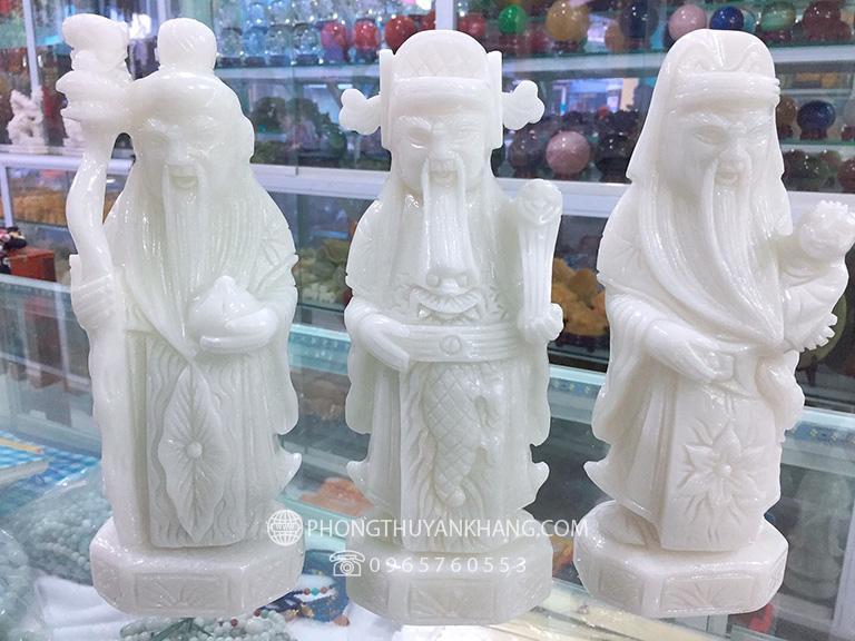 Tượng Tam Đa Phúc Lộc Thọ bằng đá Canxit trắng size nhỏ